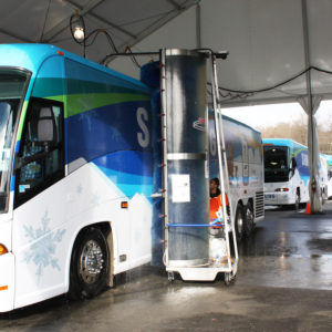 Bus washing systems. Bitimec wash-bots electric 101-ST bus washing machine washing Samsung busses at Vancouver 2010 Winter Olympics