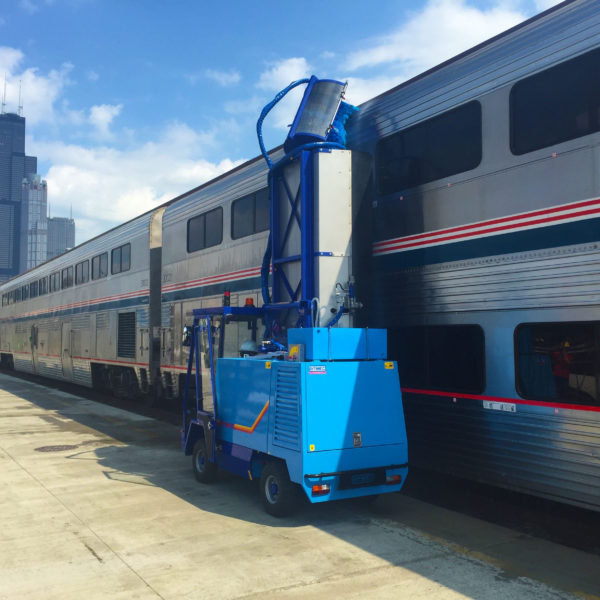 Bitimec Wash Bots SEP-900 Train washing machine washing trains at Amtrak in Chicago, train wash equipment