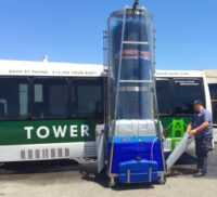 Bus Wash. Minibus Wash. Bitimec wash-bots battery powered 626-EZ bus washing machine washing a bus at divine charter in south san Francisco